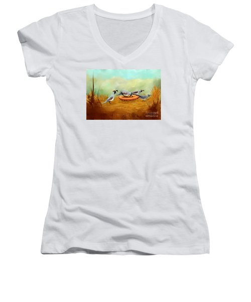 Women's V-Neck T-Shirt (Junior Cut) featuring the painting Gambel's Quail On Parade by Judy Filarecki