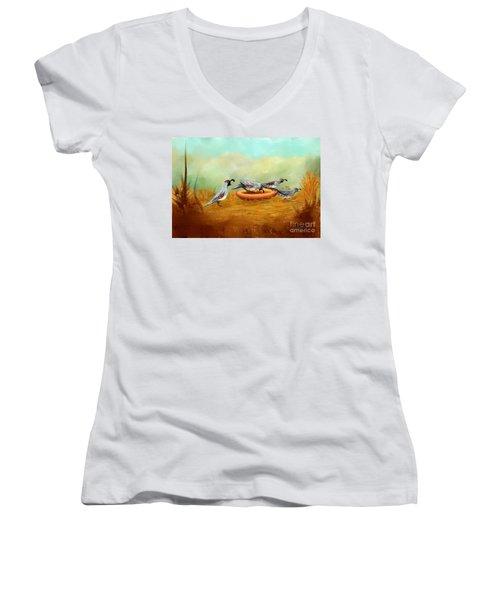 Gambel's Quail On Parade Women's V-Neck T-Shirt (Junior Cut) by Judy Filarecki