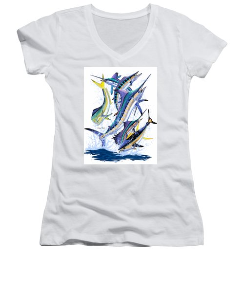 Gamefish Digital Women's V-Neck T-Shirt (Junior Cut) by Carey Chen