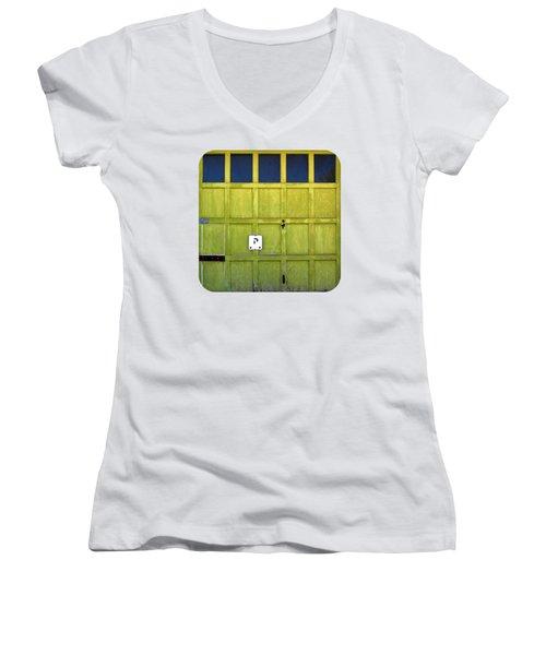 Garage Door Women's V-Neck T-Shirt (Junior Cut) by Ethna Gillespie