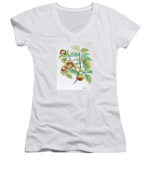 Garden Apples Sketch Women's V-Neck T-Shirt