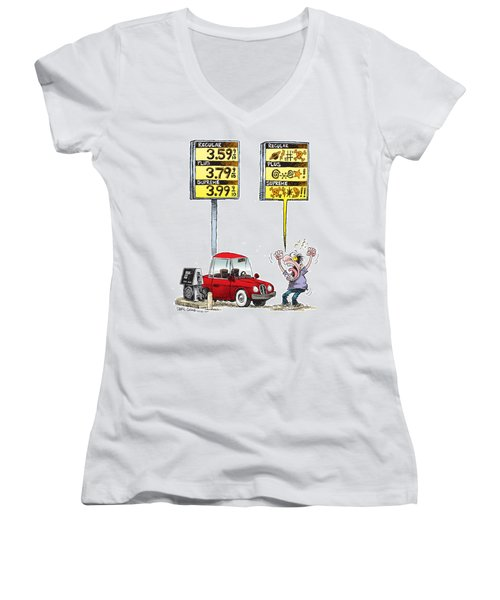 Gas Price Curse Women's V-Neck