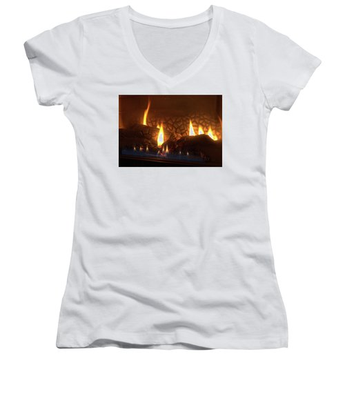 Gas Stove Flame Women's V-Neck (Athletic Fit)