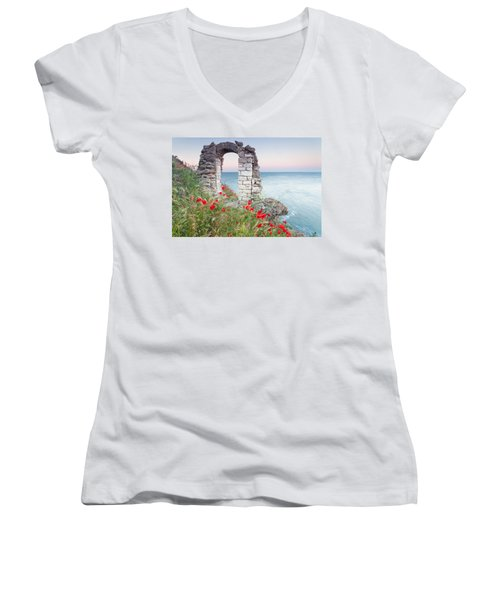 Gate In The Poppies Women's V-Neck