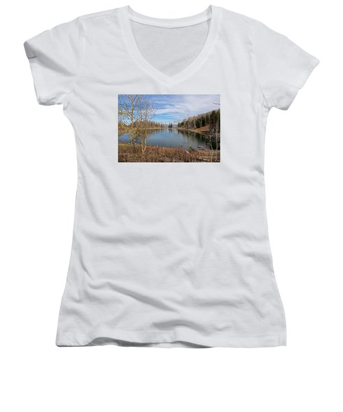Gates Lake Women's V-Neck T-Shirt (Junior Cut) by Cindy Murphy - NightVisions