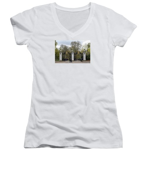 Women's V-Neck T-Shirt (Junior Cut) featuring the photograph Gates To St James Park by Shirley Mitchell