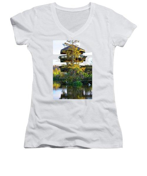 Gator Tower Women's V-Neck T-Shirt (Junior Cut) by Josy Cue