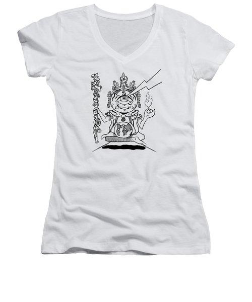 Gautama Buddha Black And White Women's V-Neck (Athletic Fit)
