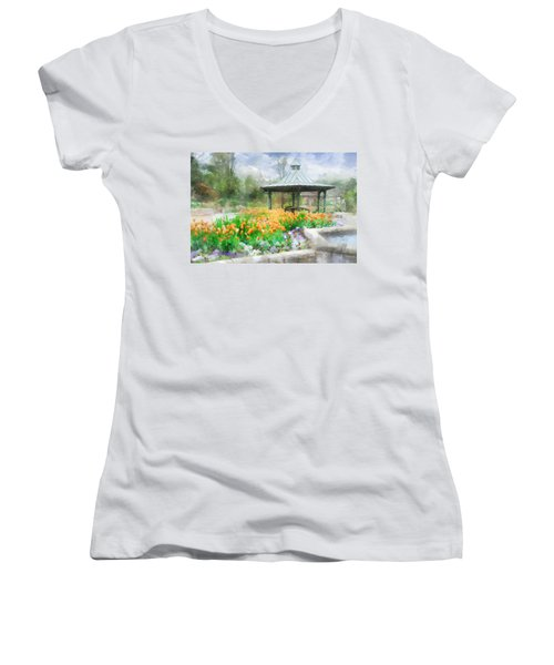 Women's V-Neck T-Shirt (Junior Cut) featuring the digital art Gazebo With Tulips by Francesa Miller