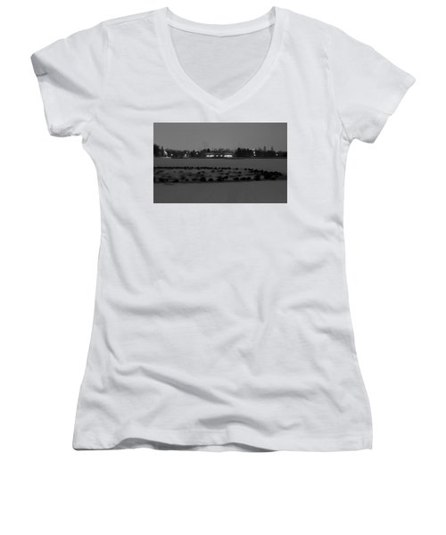 Geese In Frozen Lake Women's V-Neck