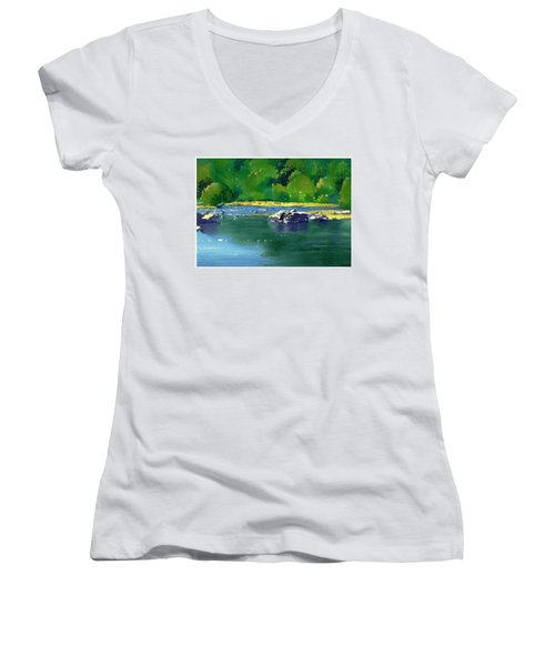 Geese On The Rappahannock Women's V-Neck (Athletic Fit)