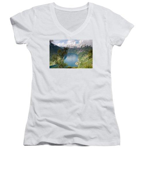 Geirangerfjord With Birch Women's V-Neck T-Shirt