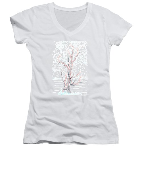 Genetic Branches Women's V-Neck T-Shirt (Junior Cut) by Regina Valluzzi