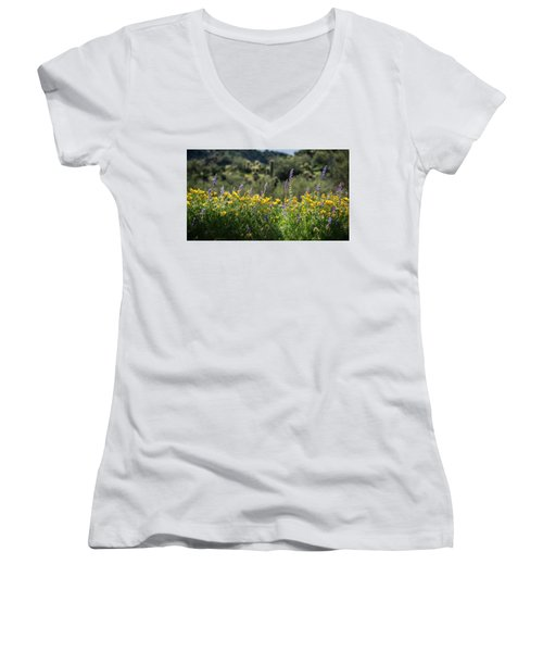 Women's V-Neck T-Shirt (Junior Cut) featuring the photograph Gently Swaying In The Wind  by Saija Lehtonen