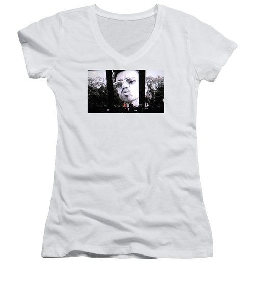 Women's V-Neck T-Shirt (Junior Cut) featuring the photograph George Michael Sends A Kiss by Toni Hopper