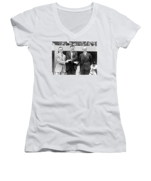 Women's V-Neck T-Shirt (Junior Cut) featuring the photograph George Sisler - Babe Ruth And Ty Cobb - Baseball Legends by International  Images