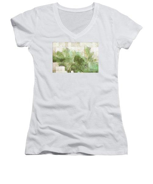 Women's V-Neck T-Shirt (Junior Cut) featuring the digital art Gerberie - 30gr by Variance Collections