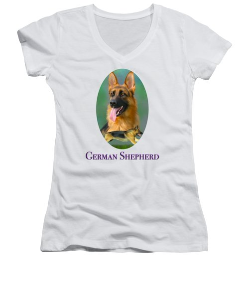 German Shepherd With Name Logo Women's V-Neck