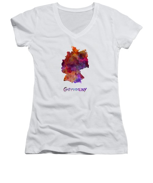 Germany In Watercolor Women's V-Neck T-Shirt (Junior Cut) by Pablo Romero