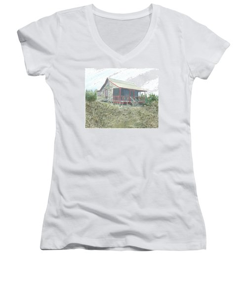 Get Away Cottage Women's V-Neck T-Shirt (Junior Cut) by Joel Deutsch