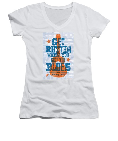 Get Rhythm - Johnny Cash Lyric Poster Women's V-Neck (Athletic Fit)