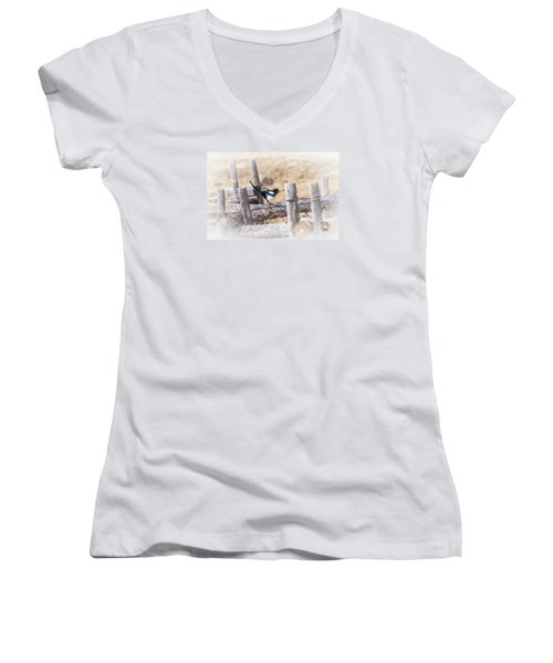 Gettin Jiggy Widit Women's V-Neck T-Shirt (Junior Cut) by Daniel Hebard