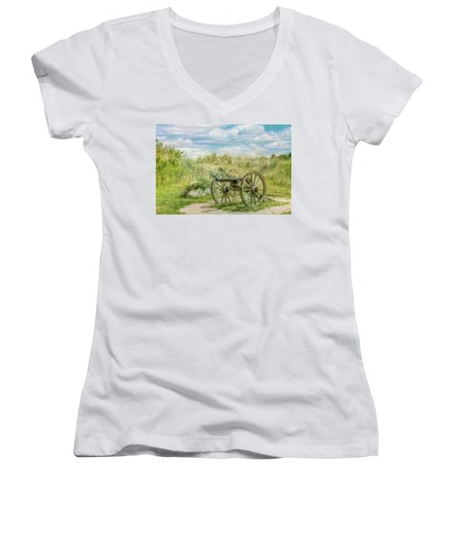 Gettysburg Battlefield Cannon Ver Two Women's V-Neck (Athletic Fit)