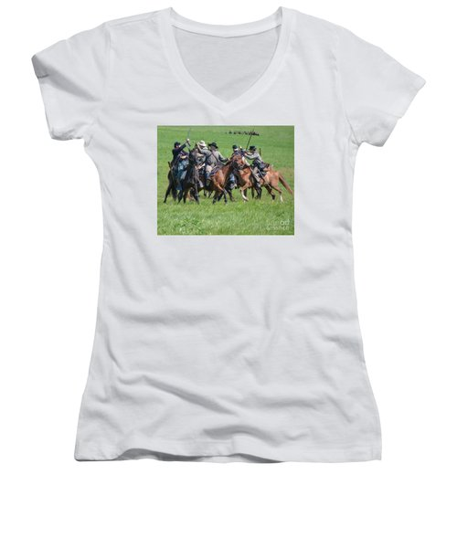 Gettysburg Cavalry Battle 7948c  Women's V-Neck (Athletic Fit)