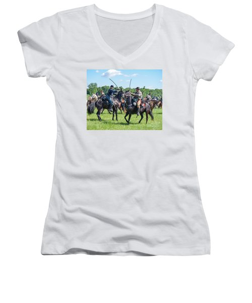 Gettysburg Cavalry Battle 7978c  Women's V-Neck (Athletic Fit)