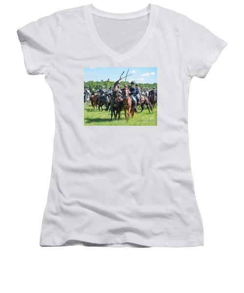 Gettysburg Cavalry Battle 7992c  Women's V-Neck (Athletic Fit)