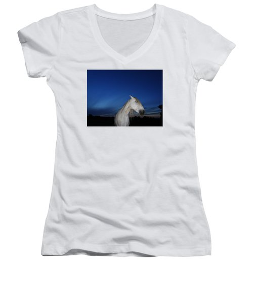 Ghost Horse Women's V-Neck (Athletic Fit)