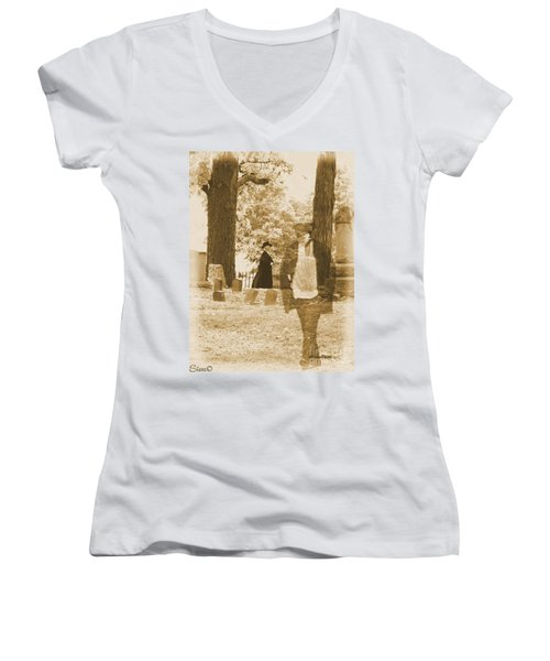 Ghost In The Graveyard Women's V-Neck (Athletic Fit)
