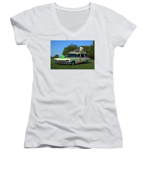 1959 Cadillac Ghostbusters Ambulance Replica Women's V-Neck