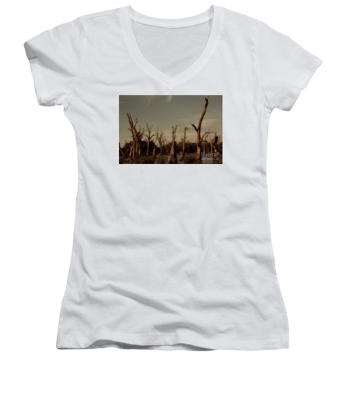 Women's V-Neck T-Shirt (Junior Cut) featuring the photograph Ghostly Trees by Douglas Barnard