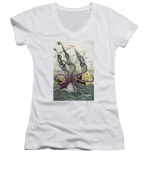 Giant Octopus Women's V-Neck (Athletic Fit)