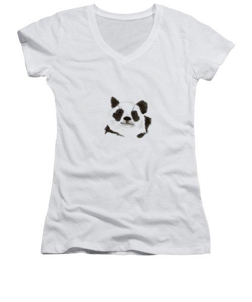 Giant Panda Women's V-Neck (Athletic Fit)