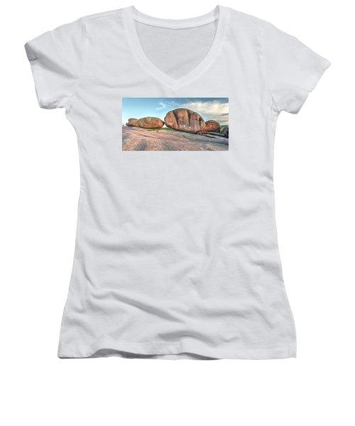 Women's V-Neck T-Shirt (Junior Cut) featuring the photograph Giant Potatoes by Harold Rau