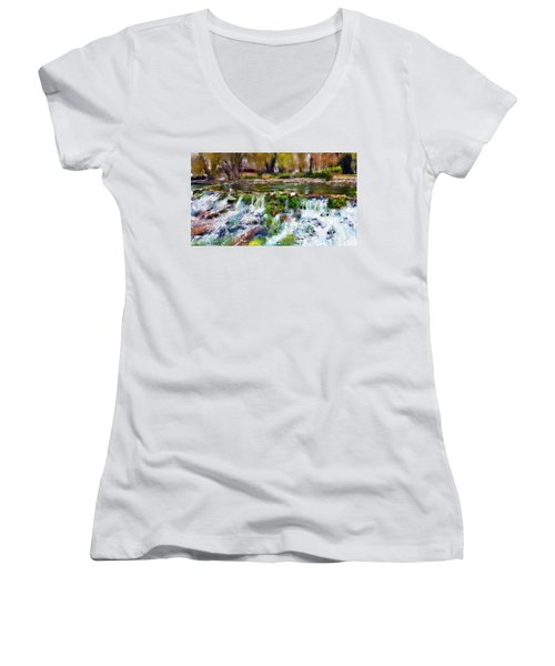 Giant Springs 1 Women's V-Neck T-Shirt (Junior Cut) by Susan Kinney
