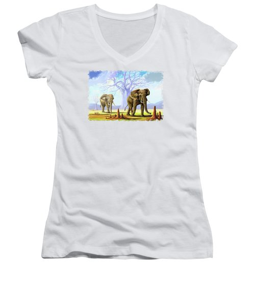 Giants And Little People Women's V-Neck T-Shirt