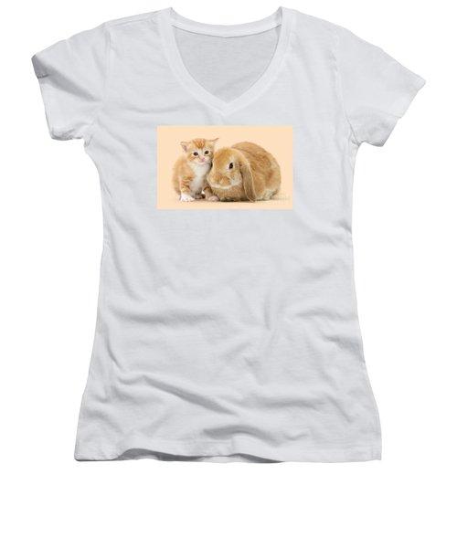 Ginger Kitten And Sandy Bunny Women's V-Neck