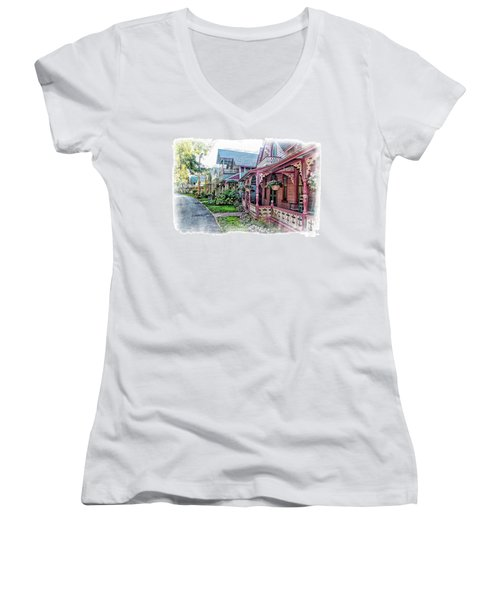 Gingerbread Row Women's V-Neck (Athletic Fit)