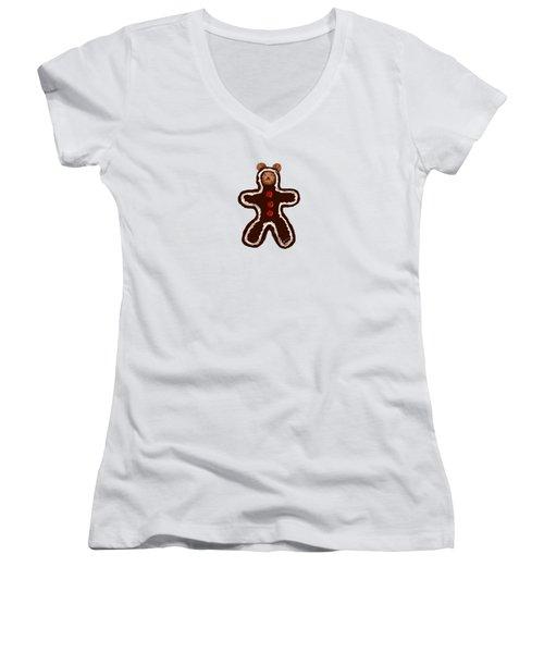 Gingerbread Teddy Women's V-Neck T-Shirt (Junior Cut) by Jean Pacheco Ravinski