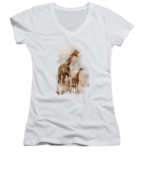 Giraffe And Baby Women's V-Neck T-Shirt (Junior Cut) by Marlene Watson