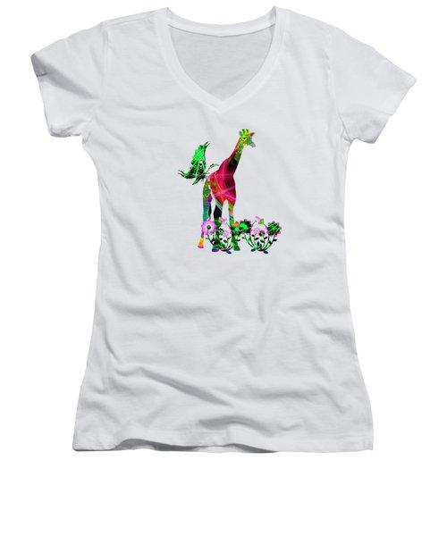 Giraffe And Flowers3 Women's V-Neck