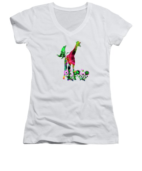Giraffe And Flowers3 Women's V-Neck