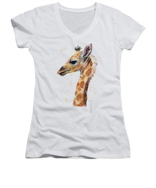 Giraffe Baby Watercolor Women's V-Neck (Athletic Fit)