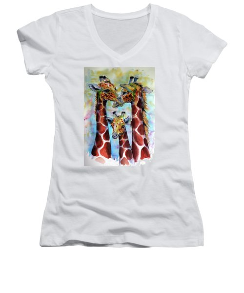 Women's V-Neck T-Shirt (Junior Cut) featuring the painting Giraffe Family by Kovacs Anna Brigitta