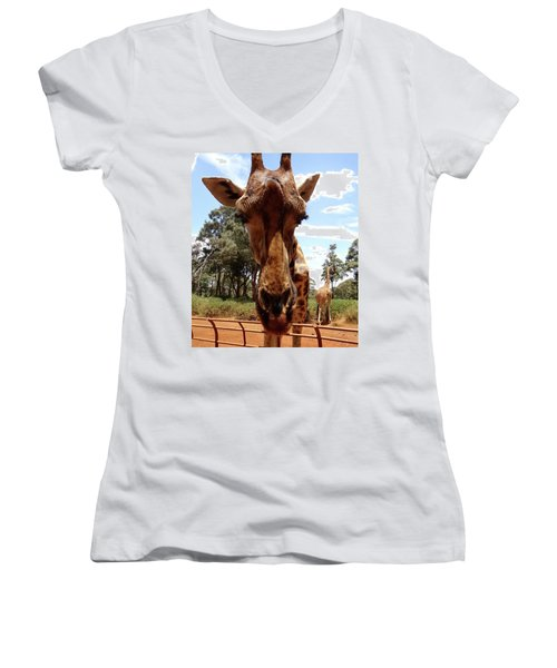 Giraffe Getting Personal 6 Women's V-Neck (Athletic Fit)