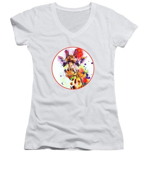 Giraffe Women's V-Neck T-Shirt (Junior Cut) by Isabel Salvador