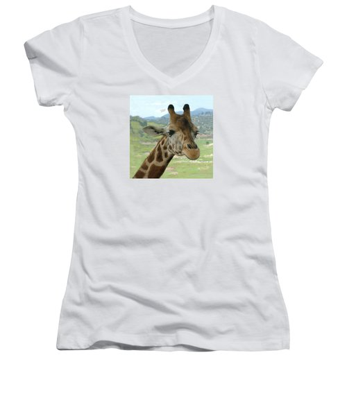 Giraffe Portrait Women's V-Neck